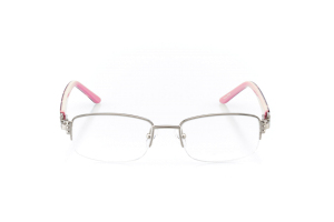 Women Semi Rimless Metal  Aura: 16-105 Silver & Pink/Red Marble 2007499