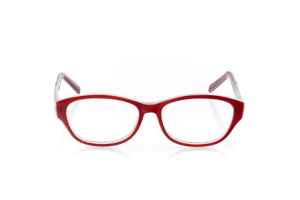 Women Full Frame Plastic  Aura: 16-109 Ruby Red & Opaque Clear 2007889