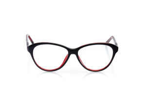 Women Full Frame Plastic  Aura: 16-94 Black & Clear Ruby Red 2007466