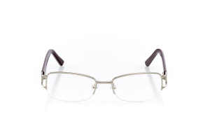 Women Semi Rimless Metal  Aura: 16-99 Silver & Mulberry Purple 2007481