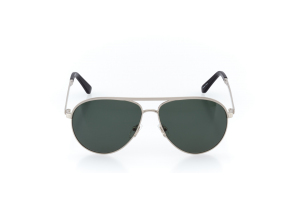 Men Full Frame Metal  CARTER: 15-38 Silver & Black w/ Green Tint 2003072