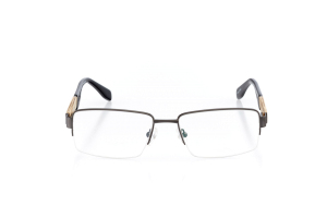Men Semi Rimless Metal  CARTER: 16-07 Matte Gunmetal & Black w/ Beige 2005230