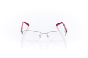 Women Semi Rimless Metal  Christian of Paris: 16-06 Silver & Red 2005031