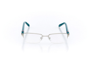 Women Semi Rimless Metal  Christian of Paris: 16-12 Silver & Teal 2005048