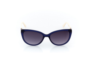 Women Full Frame Plastic  Impression: 16-36 Clear Navy & Ivory & Silver w/ Black Tint 2007837